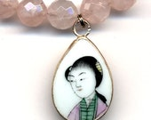 Qing Dynasty Pottery Pendant, Old Pottery Pendant, Geisha Pendant, Rose Quartz Necklace, Handmade Jewelry by AnnaArt72