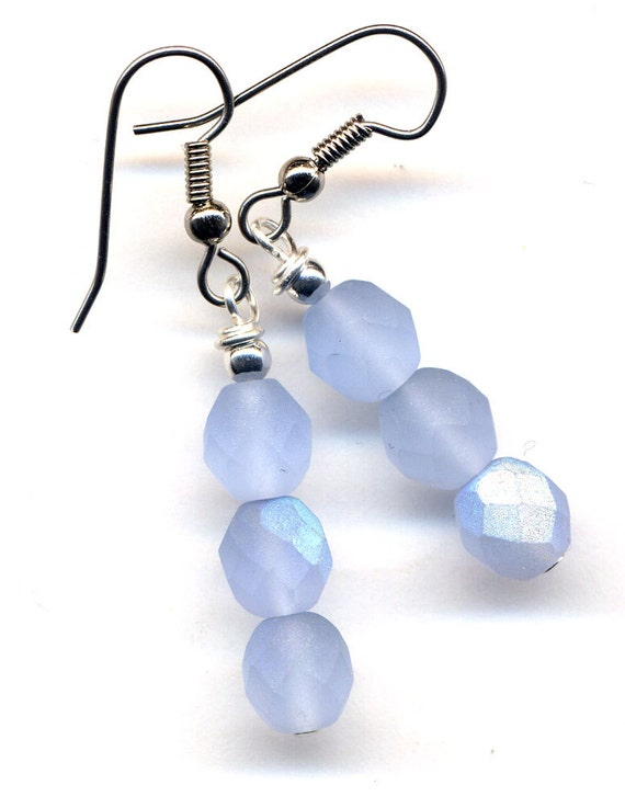 blue ice earrings winter color earrings blue earrings czech