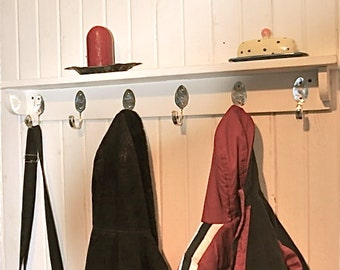 6 Personalized Spoon Hooks Coat Rack with Shelf