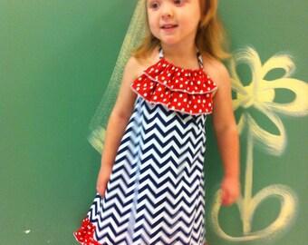 Red White & Blue Halter Style Ruffle Sundress