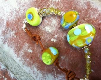 Island Getaway leather lampwork bracelet