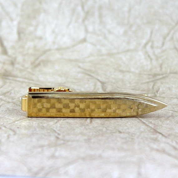 Retro Vintage Tie Bar - Gold Shield Shape - Vintage Men's Jewellery - Formal Wear Accessory - Grooms Gift