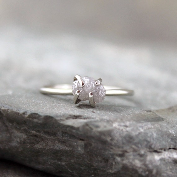 10K White Gold Diamond In The Rough Engagement Ring - One Carat Raw Rough Uncut Diamond - Handmade and Designed by A Second Time