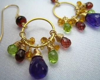 Golden Gems Sparkly Gem Earrings