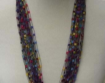Jewel Tones FIBER NECKLACES, Ladder Ribbon Necklace, Fiber Ribbon Necklace