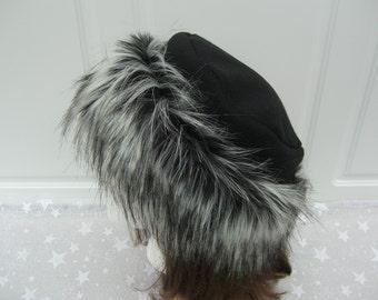 Siberian Husky FAUX FUR HAT, Pillbox Black Fleece Hat, Women's Winter Hat, Fur Hat