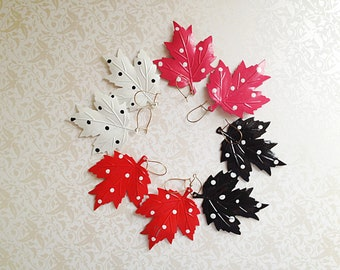 Vintage Dangle Polka Dot Leaf Earrings. Metal. Lightweight. Bright. Fun. Whimsical. Red. Hot Pink. White. Black. 1980s. You Choose.
