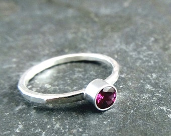 Rhodolite Garnet Sterling Silver Ring - Stacking Ring-  Gemstone Ring