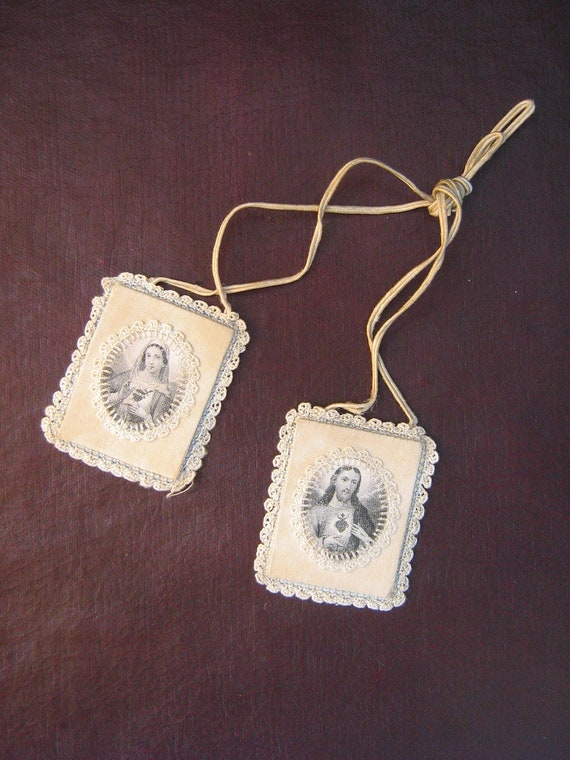 Vintage Jesus and Mary Scapular