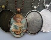 10 Complete DIY Glass Pendant Kits - 30 x 40mm Oval Blank Trays, Matching Glass Cabochons and Ball or Rolo Link Chains