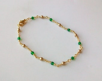 Green and Gold Glass Bead Wire Wrapped Chain Link Anklet - Ankle Bracelet