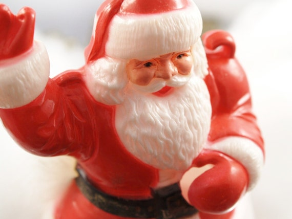 Vintage Santa Clause Decoration Hard Plastic Retro Christmas Holiday Little Santa