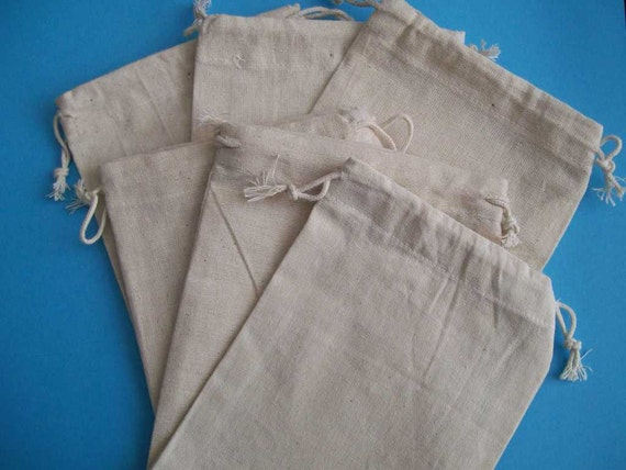 Cotton Jewelry Pouch/Bag-5 x 7 inches-Off White-6 Bags