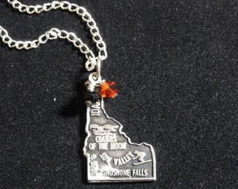 Idaho State Bengals Necklace, Idaho State Map Sterling Silver Charm, Orange & Black Beaded Pendant Necklace
