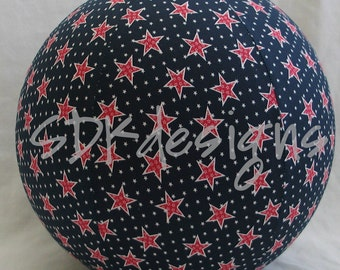 Balloon Ball - All American Memorial Day Red White Blue Stars fabric - great kids TOY