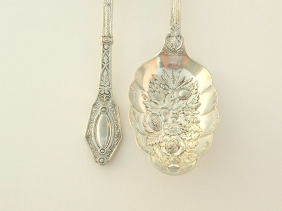 Antique 1878 English Berry Spoons: Rococo Bowls, Aesthetic Handles, Silverplated - Set of 2