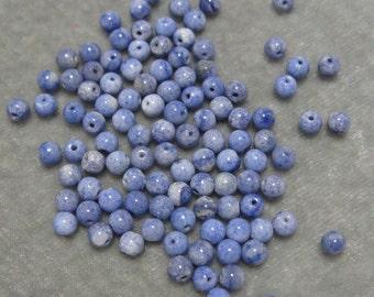 Full Strand  4mm Enhanced Blue Agate Gemstones (212)