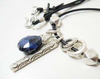 Sterling Gemstone Leather Necklace, Denim Blue, Leather, Summer Jewelry, Sterling Silver, Charm, Rustic Fashion
