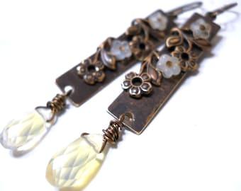Floral Brass Vine Drop Earrings, Lemon Quartz, Czech Glass, Vintaj Brass, Rustic Fashion, Delicate Bridal Jewelry