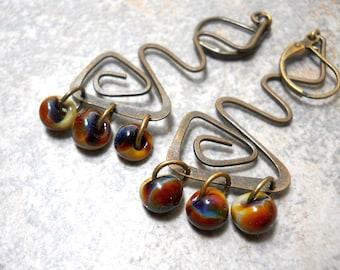 Wavy Brass Beaded Earrings, Lampwork Drops, Natural Colors, Earthy, Rustic Boho Fashion, Brown, Blue, Khaki Glass Beads, Art Nouveau