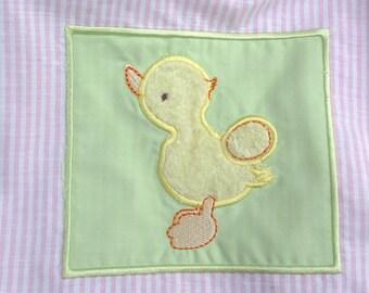 girls Duck skirt, handmade skirt, fuzzy yellow duck, unique clothing, twirl skirt, polka dots, pink purple skirt, elastic waist,Spring skirt