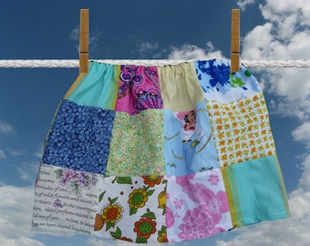 girls Cowgirl skirt, patchwork skirt,handmade patchwork,multi color skirt,flowers,new vintage fabric,elastic waist,unique clothing,childrens