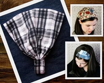 Wide Black White Retro Head Scarf Headband Plaid Fabric Head band Headscarf Hair Wrap Head wrap Head cover Hair Cover Head covering