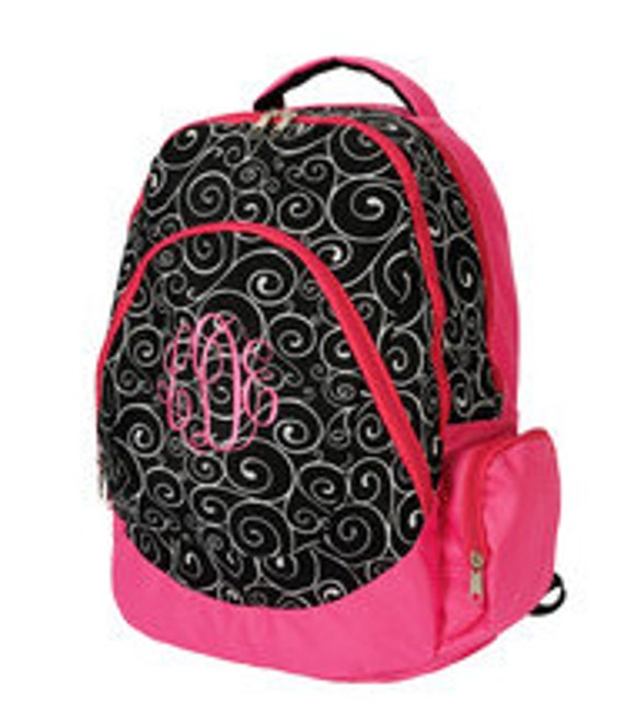 Black White and Pink Swirl Backpack  Monogrammed Personalized