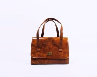 60s Purse Tan Vegan Handbag Vintage Marbled  Box Bag Hard Shell