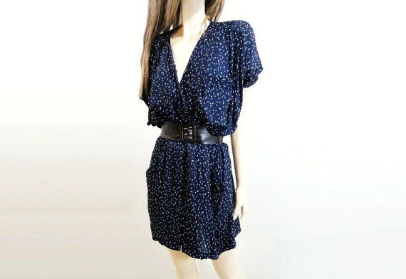 Vintage Mini Dress 1980s Designer Navy White Print M