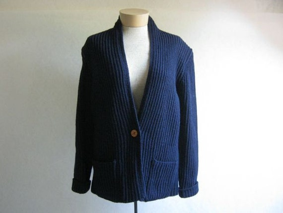 Vintage navy blue preppy  woven wool cardigan sweater