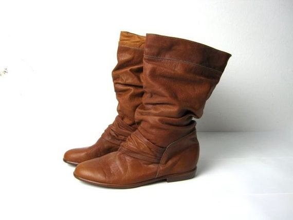 vintage 70s brown slouchy boots 6