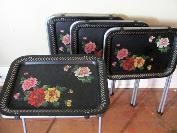 Vintage Black Floral Metal Tv Trays With Stands Set Of 4