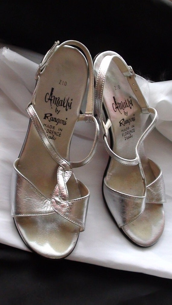 RETRO Retro Shoes High heel  Silver Mettalic AMALFY by Rangony made in Florence Italy size 5.5 M On SaLe Now
