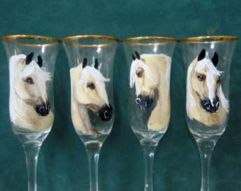 Sample palomino horse wine glasses set 4  can paint your horse on them