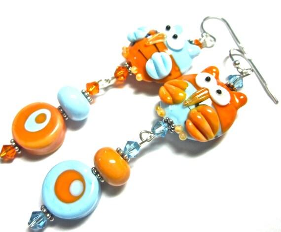 Lampwork Earrings, Handmade Lampwork Beads, SRA Artist, Swarovski Crystals, Sterling Silver Earwires and Beads, Owl Earrings