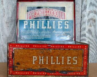 """BAYUK Philadelphia """"PHILLIES"""" Cigar Tin"""