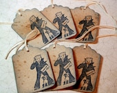 Gift Tags - Cracker Jack -  Navy Blue  - Vintage Style