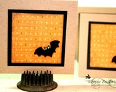 Halloween Mini Cards with Bats - Mini Note Cards - Blank Inside - Set of 4