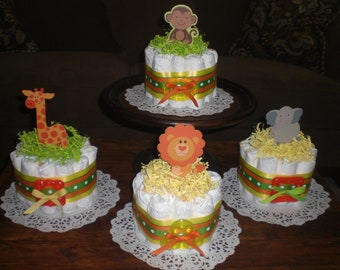 Jungle Monkey Safari Diaper Cake Baby Shower Centerpieces with teether other colors and sizes too