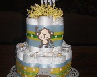 Jungle Safari Theme Diaper Cake Baby Shower Centerpiece Safari two tier other colors and sizes too