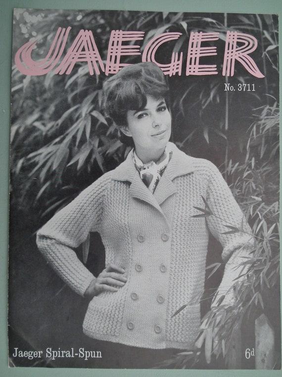 Vintage 1950s 1960s Knitting Pattern Womens Cardigan Jacket original pattern 50s 60s Jaeger UK