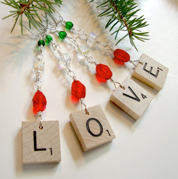 Scrabble Ornament LOVE - Red Green Clear Beaded Holiday Christmas - Ready to ship - Tree bling - Set of four beaded ornaments
