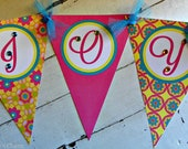 Luau/Flower Name Banner...Set of 1 Name Banner up to 5 Letters