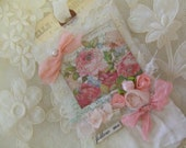 Mixed Media Art Tag with Vintage Bridal Lace