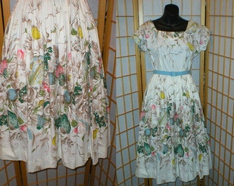 Vintage 50s Mad Men fruit print day dress womens size small