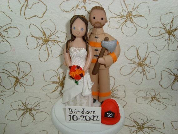 Customized Firefighter Wedding Cake Topper