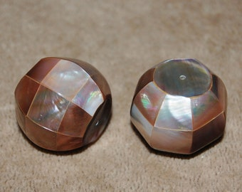 Vintage One Mosaic Mother of Pearl Focal  Bead 28x30mm   O1R