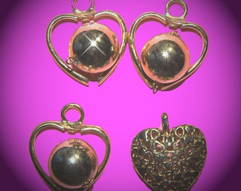 Vintage 4 Gold Plated Heart Pendant Findings GL6