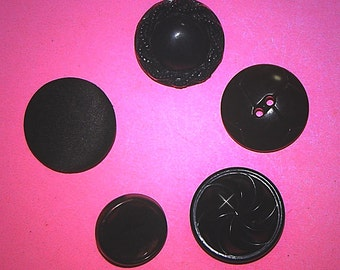 Vintage 5 Art Deco Casein and Satin Covered Buttons H3R